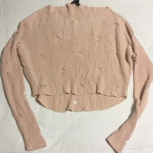 pink cropped long sleeve sweater